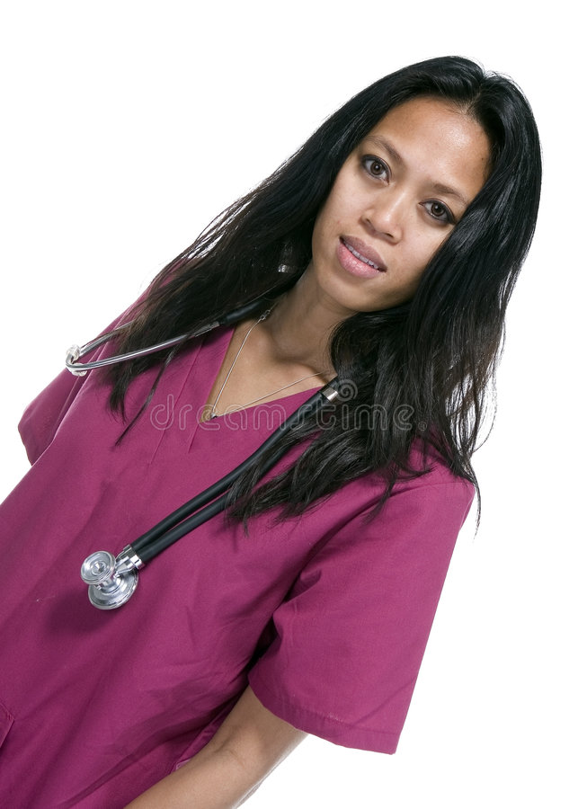 Brunette In Medical Scrubs Stock Photos