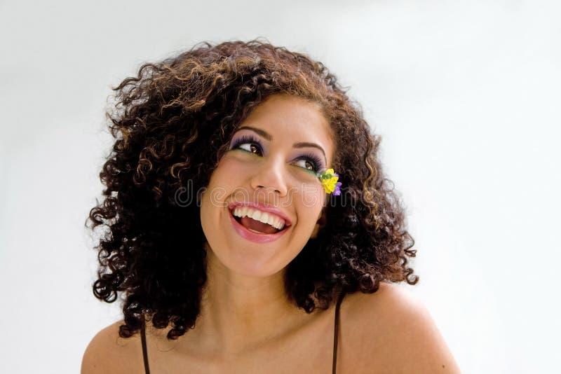 Brunette met bloemmake-up stock foto