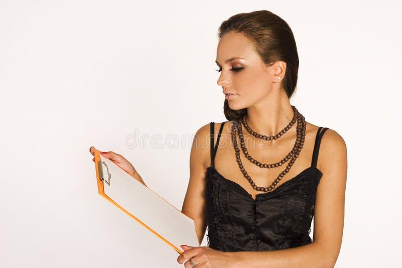 Brunette met een stootkussen royalty-vrije stock afbeeldingen