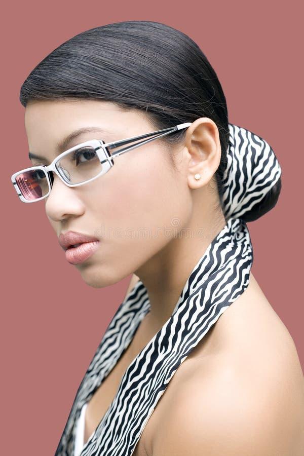 Brunette met glazen stock afbeelding