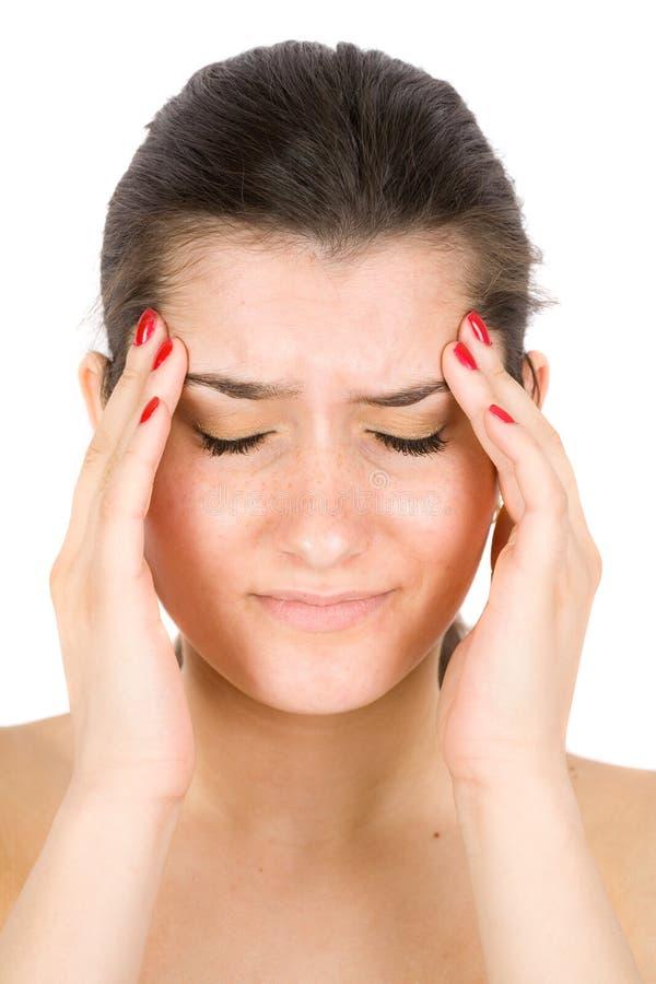 Brunette met migraine stock fotografie
