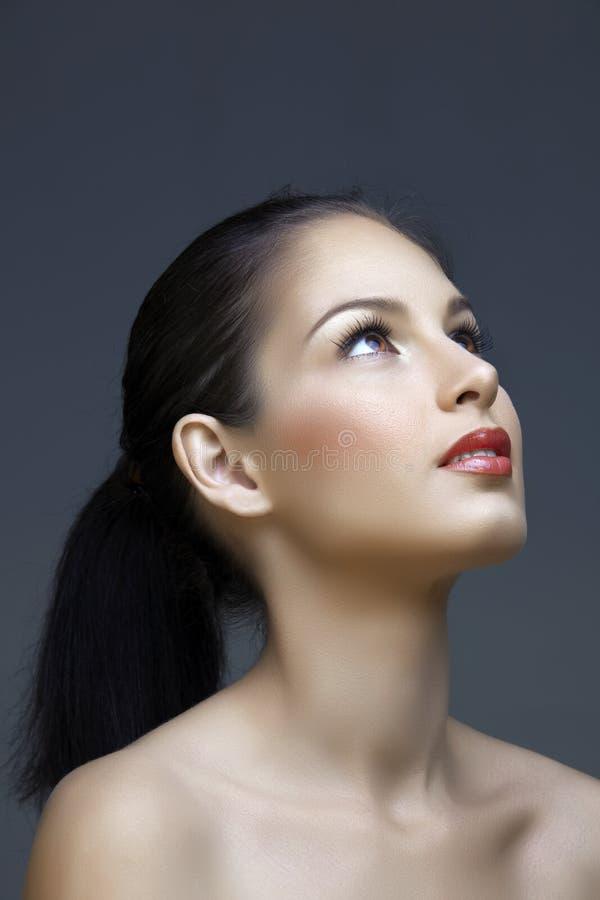 Brunette mit dem langen Haar stockfotografie