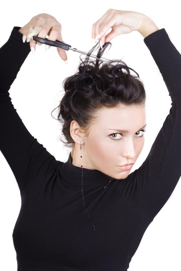 Brunette mit Scheren stockfoto