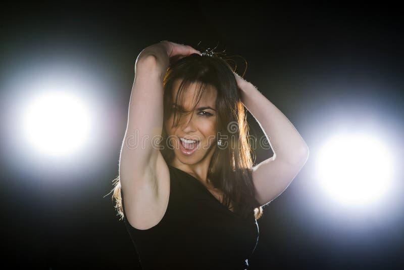 Brunette Model Dancing royalty free stock photos