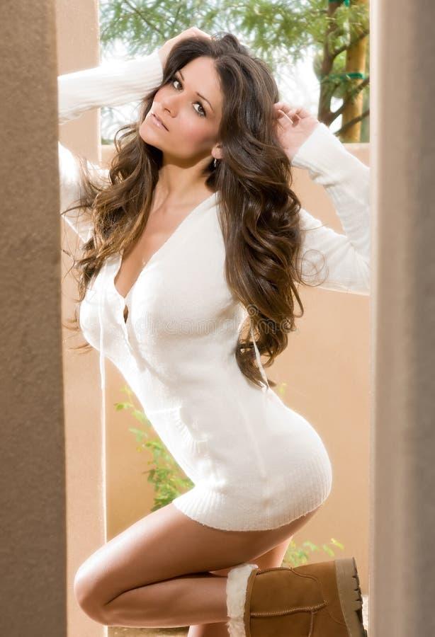 Brunette Model in Doorway stock photo