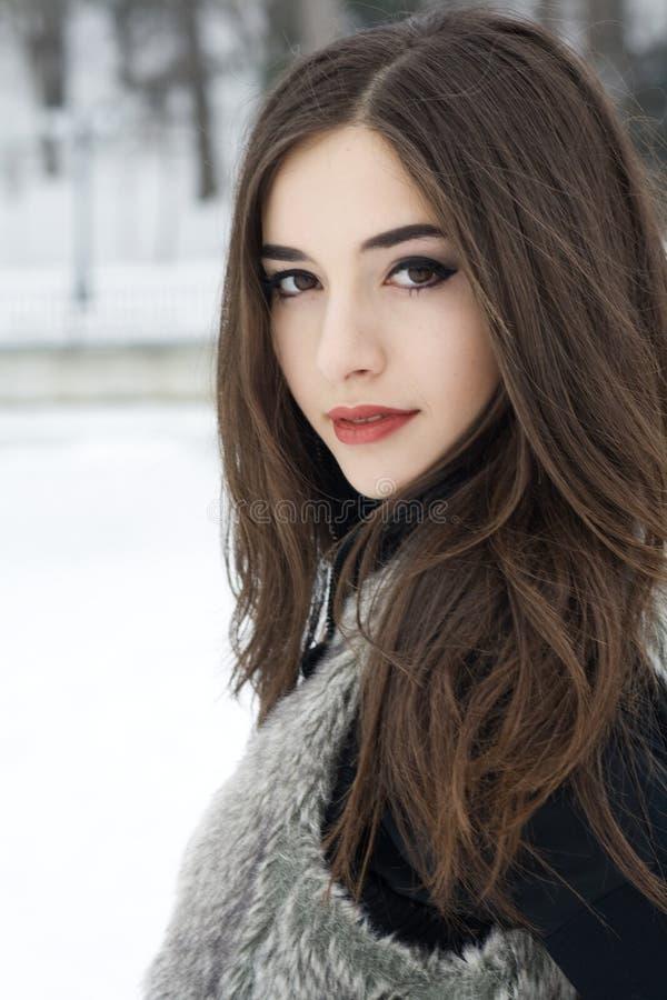 Brunette Model Outdoors royalty free stock image