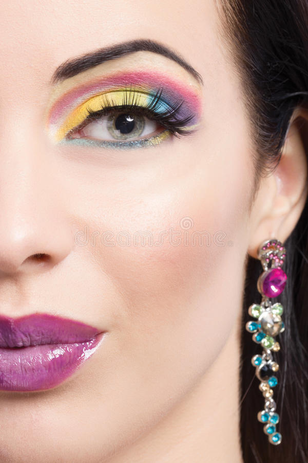 Brunette model portrait,colorful make-up. Beautiful brunette model portrait,colorful make-up stock photo