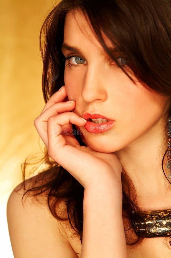 Brunette model pose stock photo