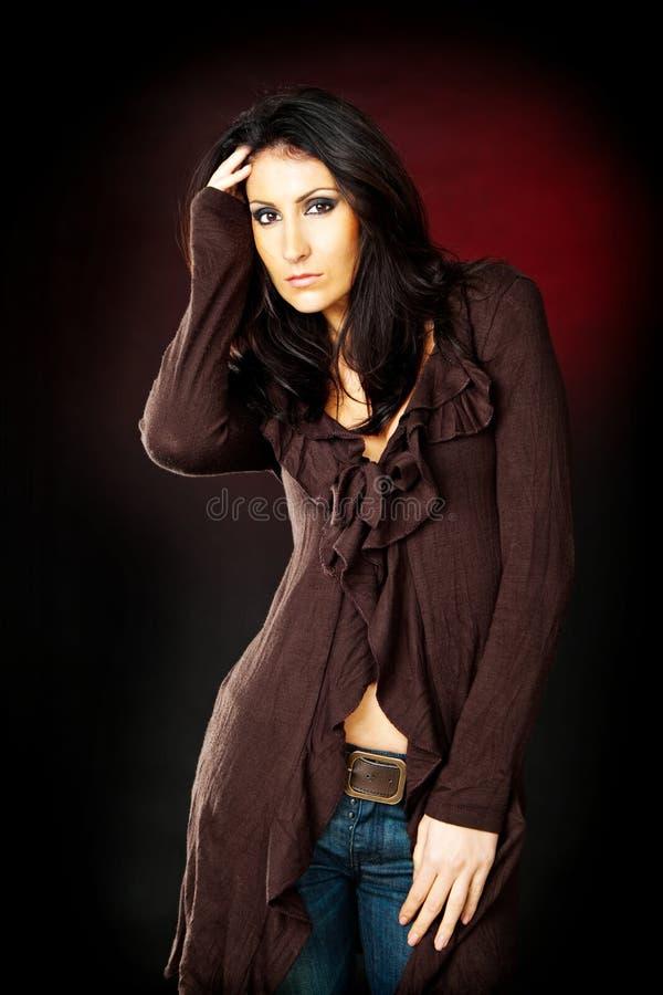 Brunette model posing stock photo