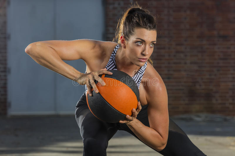 Brunette Model Working Out stock photo