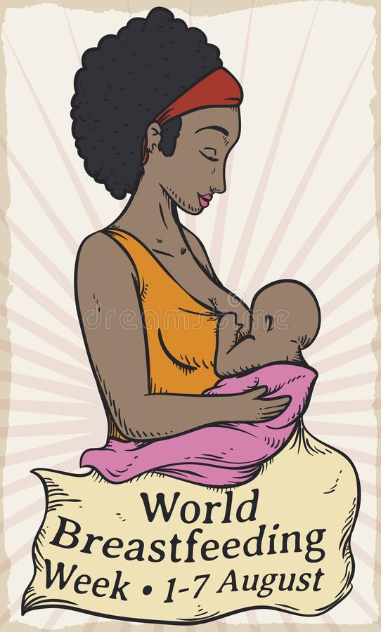 Brunette Mom with Baby Celebrating World Breastfeeding Week, Vector Illustration. Poster in retro style with beautiful brunette mom with her baby and fabric with royalty free illustration