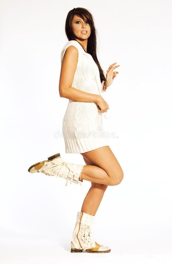 Brunette no branco foto de stock
