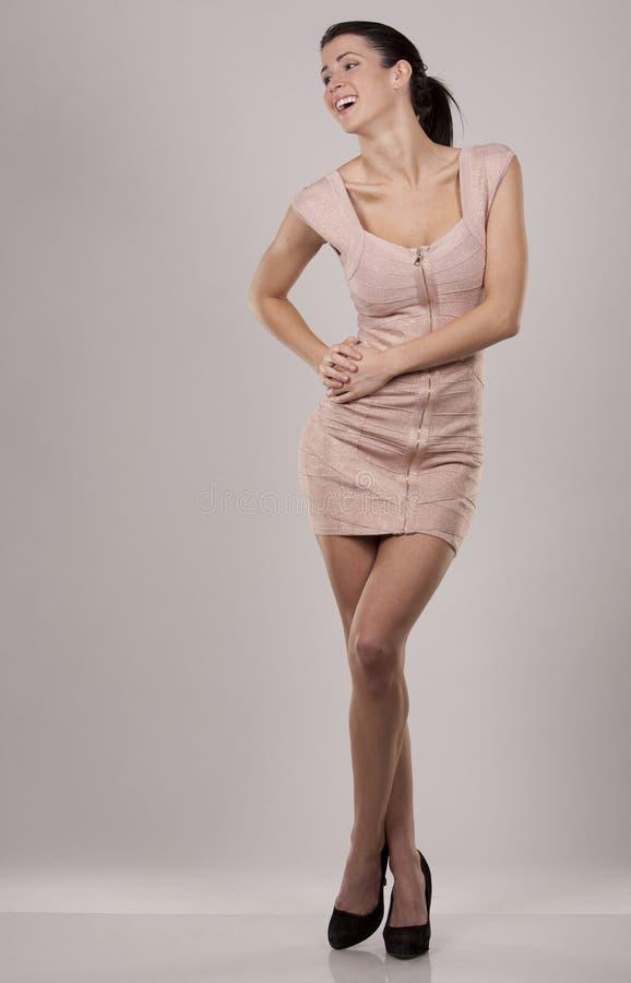 Brunette no vestido imagens de stock royalty free