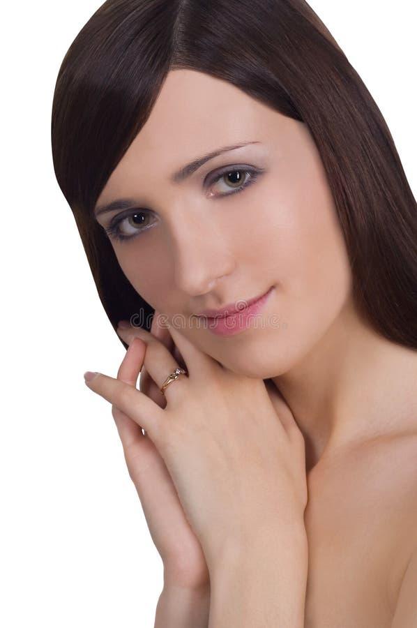 Brunette nu encantador sobre o branco imagem de stock royalty free