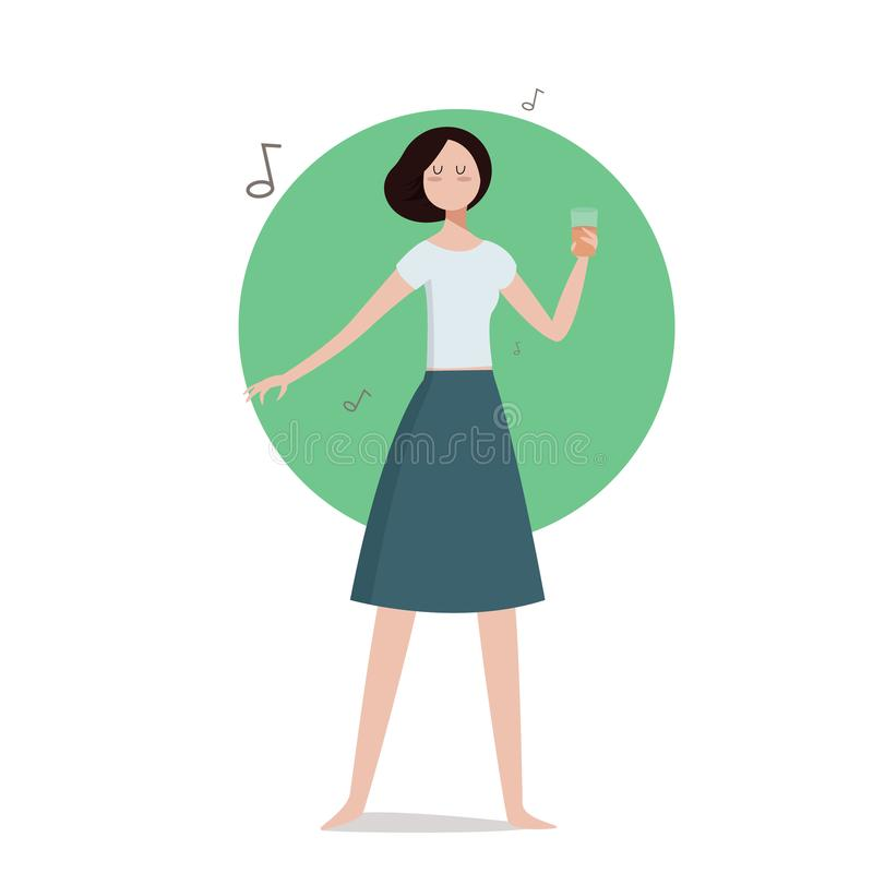 Brunette Office Girl Cartoon Character Illustration Holding Glss of Drink, Smiling and Wearing Fancy Office Clothes stock illustration