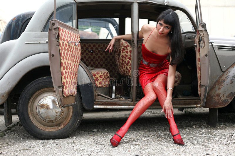 Download Brunette In Old Car Royalty Free Stock Photos - Image: 8367108