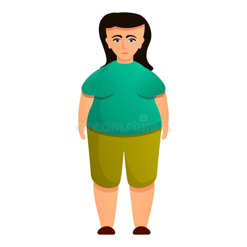 Brunette overweight icon, cartoon style. Brunette overweight icon. Cartoon of brunette overweight vector icon for web design isolated on white background vector illustration