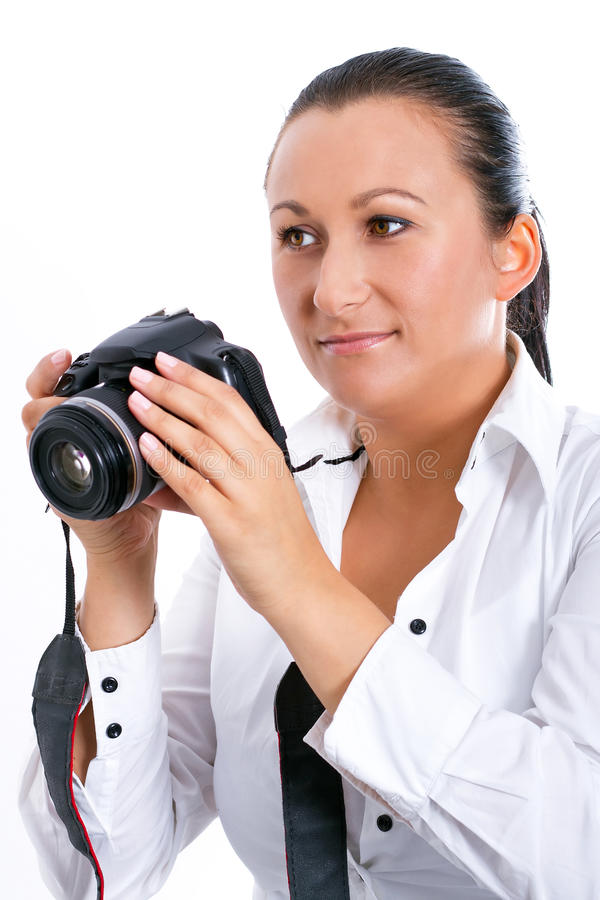Download Brunette Photographer Woman With DSLR Camera Stock Photo - Image: 27161860