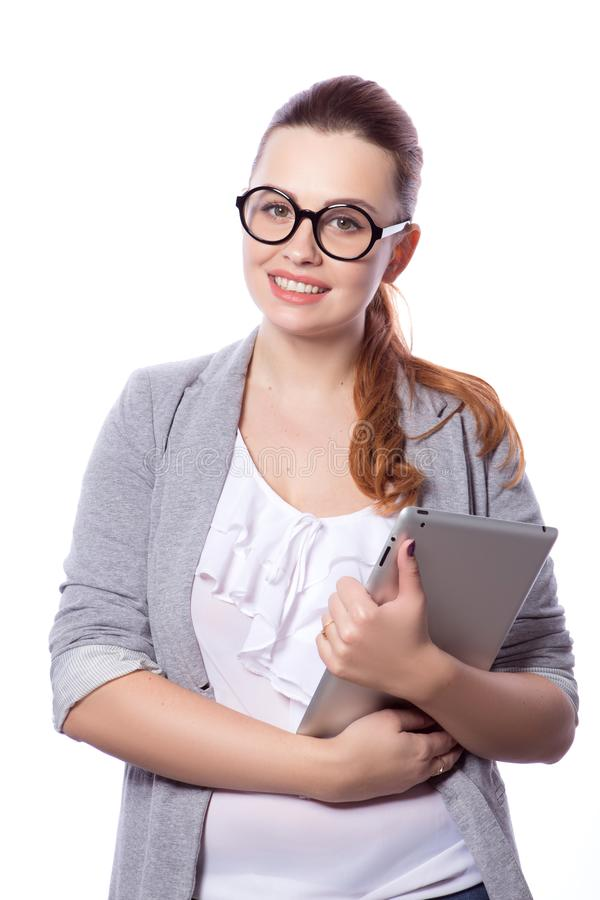 Brunette Plusgrößenfrau in intelligentem zufälligem Ausstattung jacker und blou stockbild