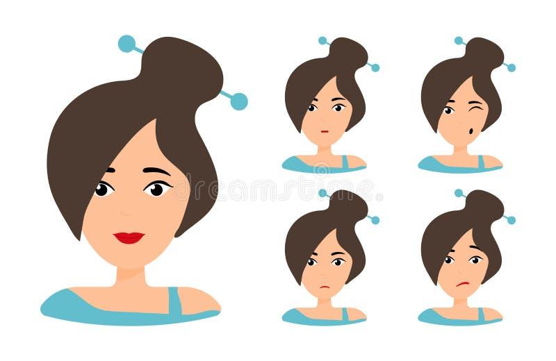 Brunette with ponytale. Female cartoon stock illustration