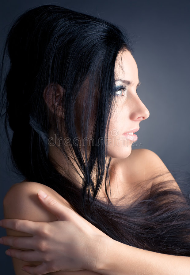 brunette portrait profile woman young στοκ φωτογραφία