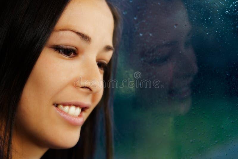 Download Brunette Portrait, Standing By Rainy Window. Stock Photo - Image: 18464278
