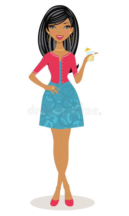 Brunette posing with a cocktail in her hand stock illustration