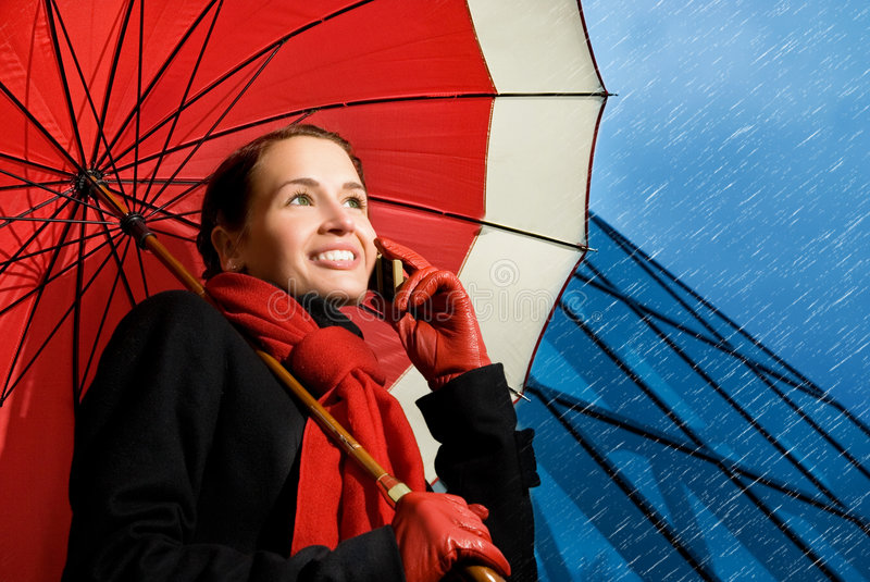 Download Brunette With Red Umbrella Royalty Free Stock Images - Image: 5837709