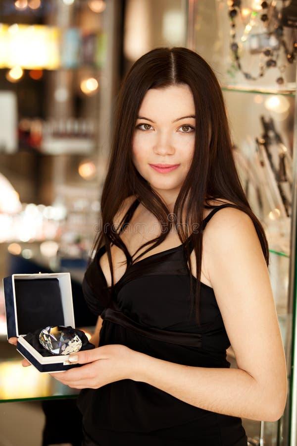 Brunette salesman royalty free stock images