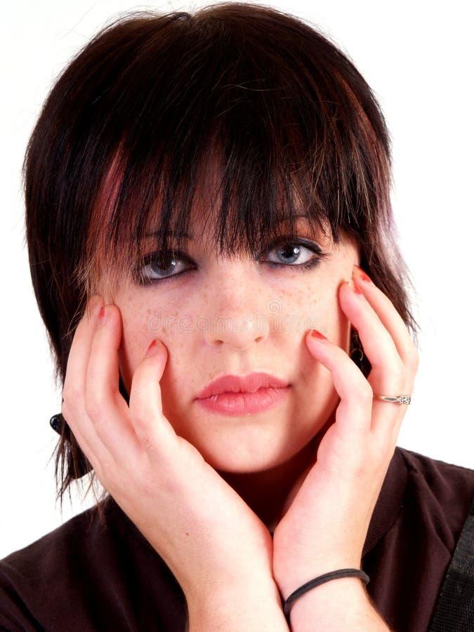 Brunette-Schalthebel-Mädchen stockbild