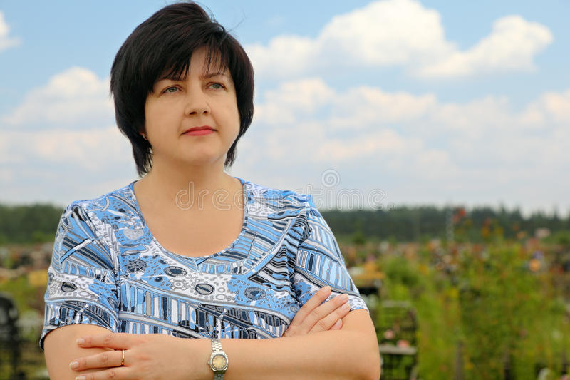 Brunette serious woman royalty free stock image