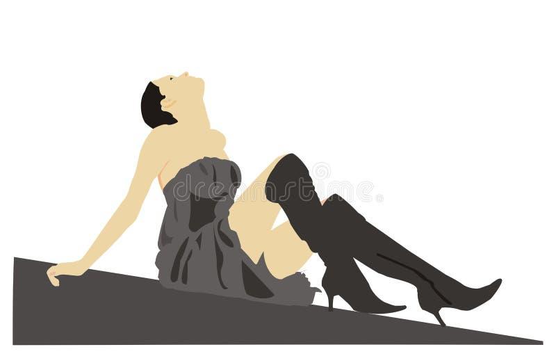 Brunette sexy illustrazione di stock