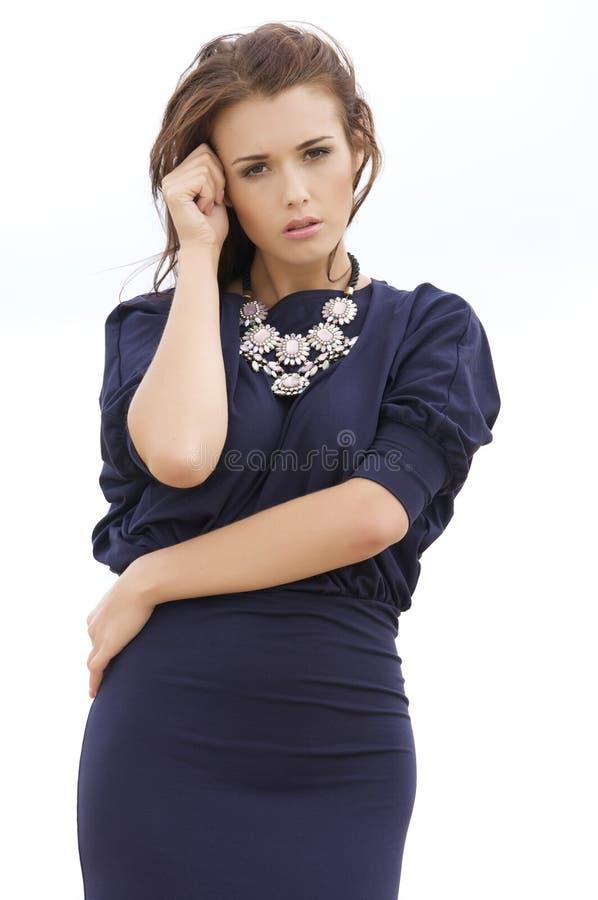 Brunette sexy che propone in vestito viola. immagini stock