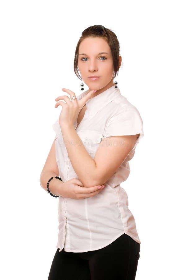 Brunette sexy in chemise bianco fotografie stock libere da diritti
