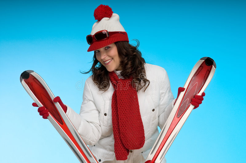 Brunette 'sexy' no equipamento sportive vermelho e branco imagem de stock royalty free