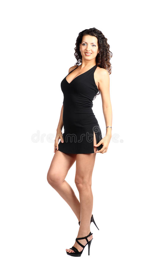 Brunette 'sexy' no vestido preto fotografia de stock