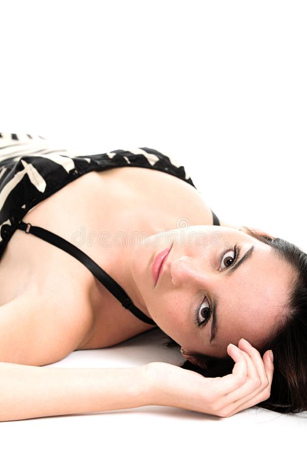 Morena 'sexy' nas camisolas fotos de stock
