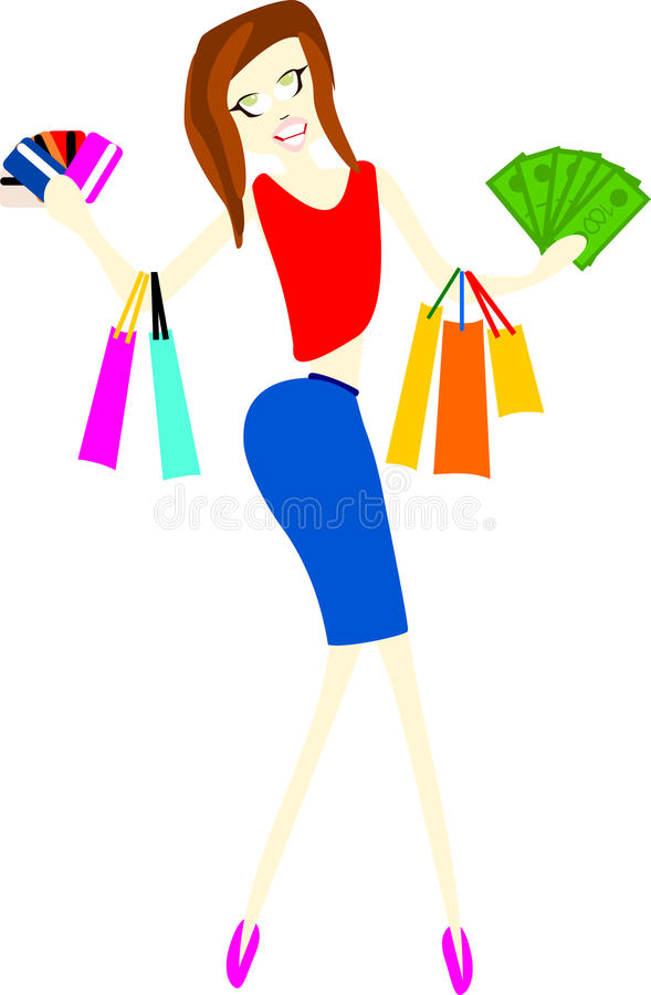 Download Brunette shopaholic stock vector. Image of buying, elegance - 35610059