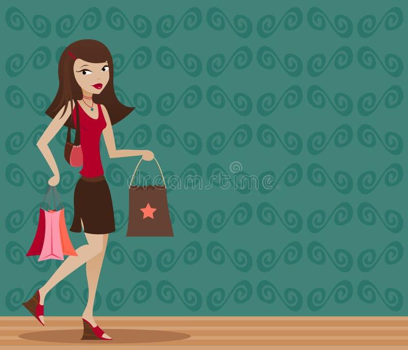Brunette Shopper royalty free illustration