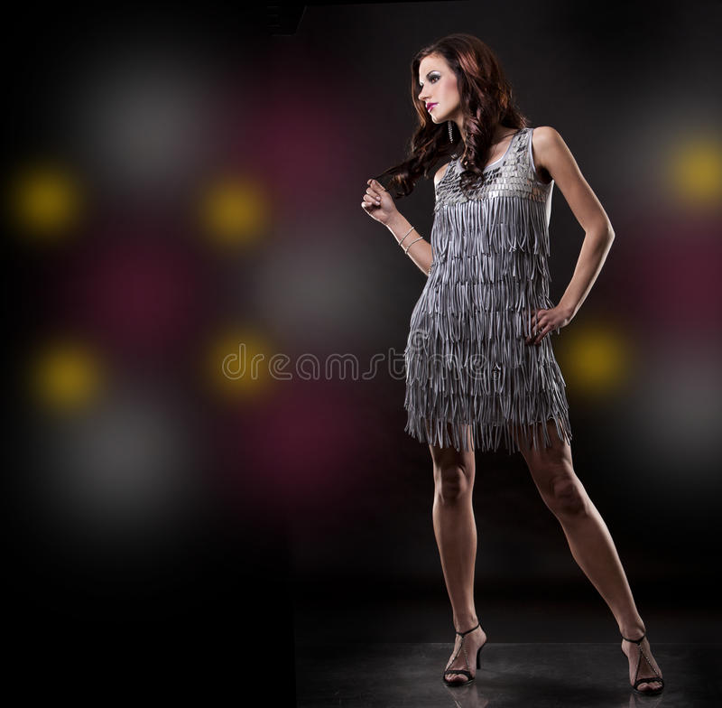 Download Brunette and silver dress stock image. Image of pretty - 23470609