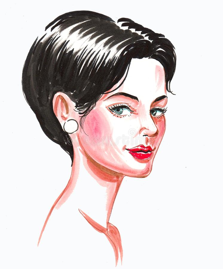 Brunette Skizze der Schönheit stock abbildung