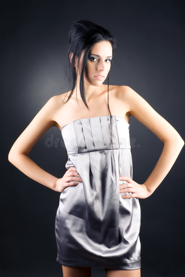 brunette slim woman στοκ εικόνα