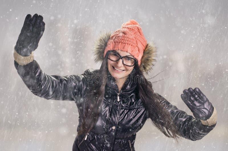 Download Brunette in snowstorm stock photo. Image of smiling, studio - 29468276