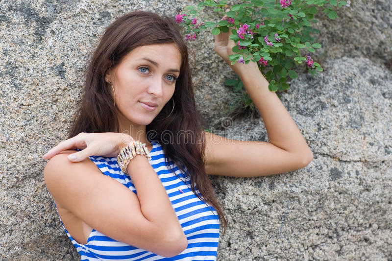 Download Brunette in striped shirt stock photo. Image of attractive - 19007304