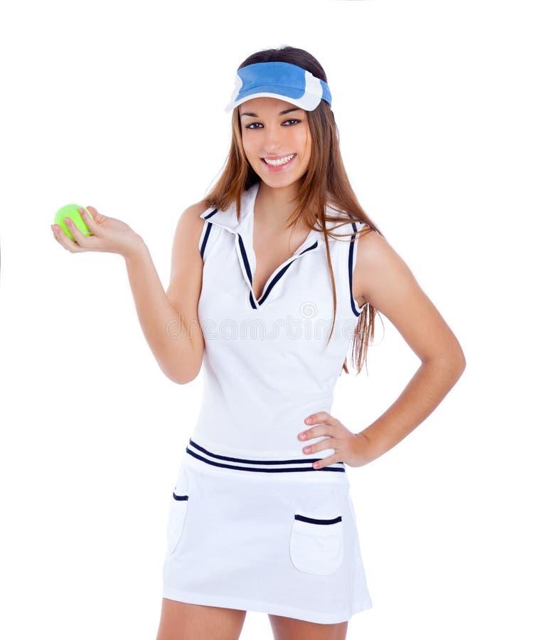 Brunette Tennis Girl White Dress And Sun Visor Cap Royalty Free Stock Photo