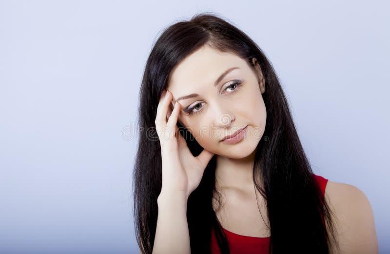 Brunette triste e depresso fotografia stock