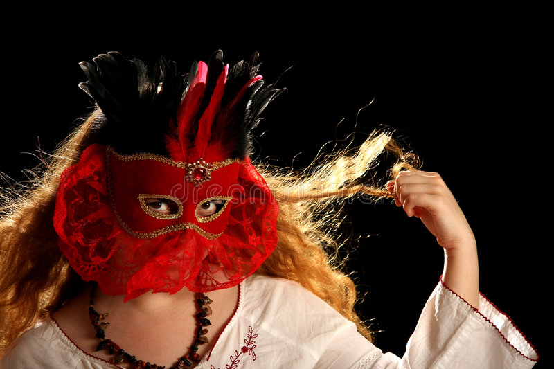 Brunette With Venetian Mask Stock Images