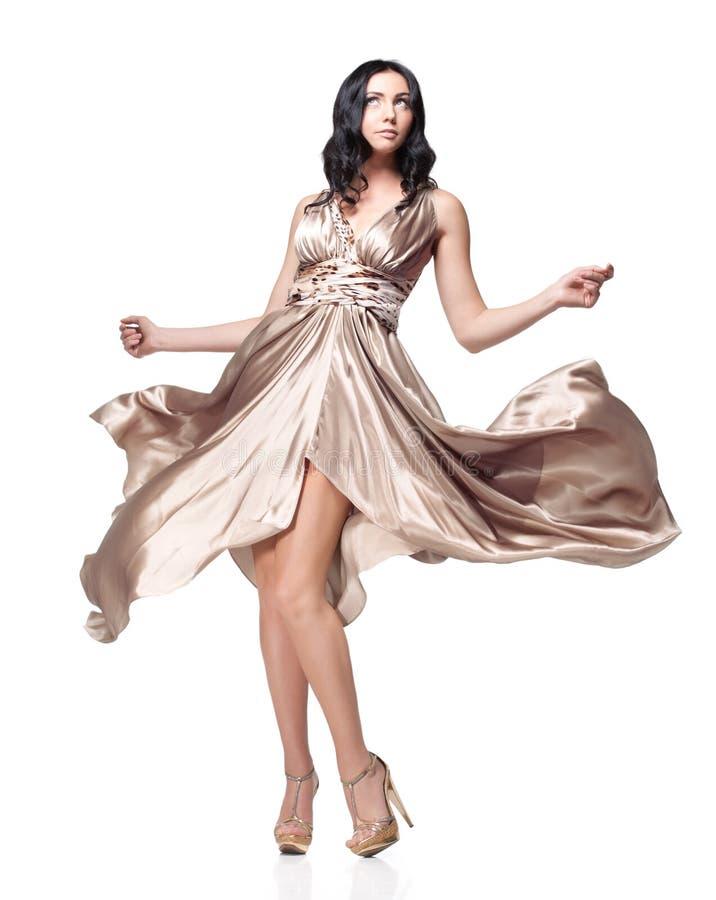 Download Brunette in waving dress stock image. Image of caucasian - 23806445
