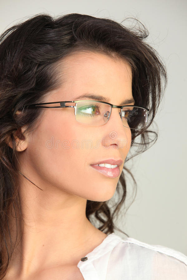 Brunette Wearing Glasses Royalty Free Stock Photo