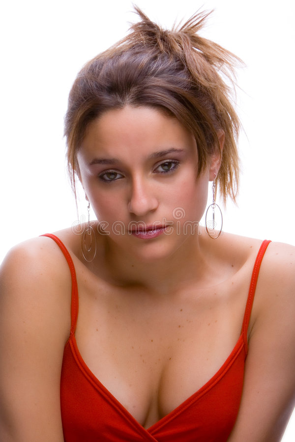 Brunette in white royalty free stock images